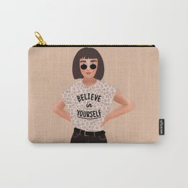 Believe in Yourself, Leopard Print, Fashion, Hipster Illustration Carry-All Pouch