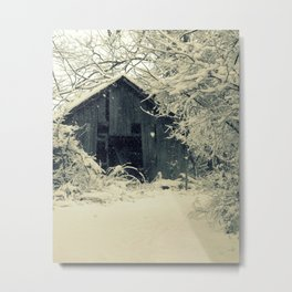 Old Shed in the Snow Metal Print