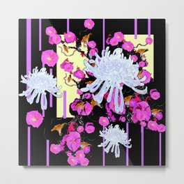 Modern Art White Spider Mums Pink Flowers Black Metal Print