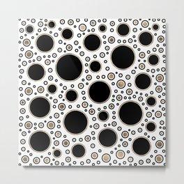 Polka Dot Chaos - White, Black and Gold Metal Print