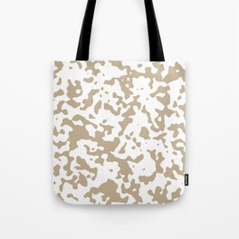 Spots - White and Khaki Brown Tote Bag