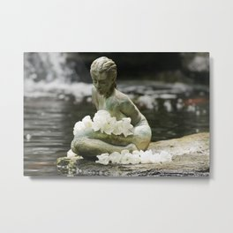 Japanese Woman Statue (Zen Garden with White Flowers) Metal Print