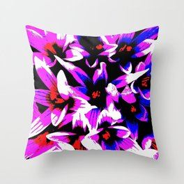Pink, Blue ,White Flowers Throw Pillow