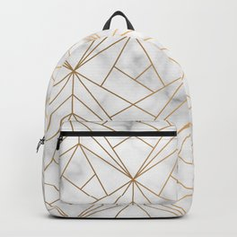 Geometric Gold Pattern on Marble Texture Backpack