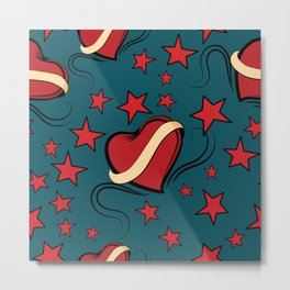 Hearts and stars on Rockabilly Tattoos Collection - Pop Metal Print