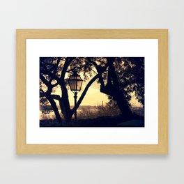 Sunset Silhouette: Latern and Lisboa Framed Art Print