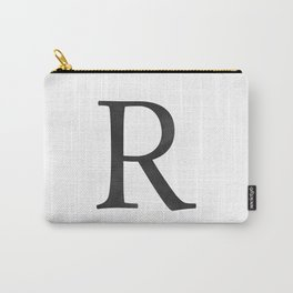Letter R Initial Monogram Black and White Carry-All Pouch