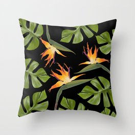 Srelitzia and Monstera black Throw Pillow