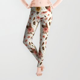 Beautiful Australian Native Flowers on Gold Polka Dots Leggings