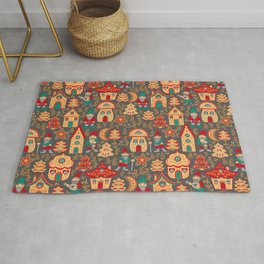 Fairy gnomes and magic houses.  Christmas trees, months and stars. Pattern in folk style. Rug