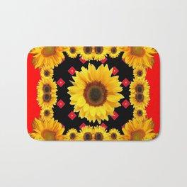 Red Western Yellow Sunflowers Art Bath Mat