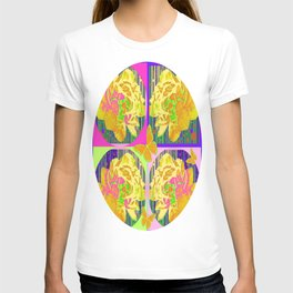 Yellow Summer Monarch  Butterfy Rose Abstract T-shirt