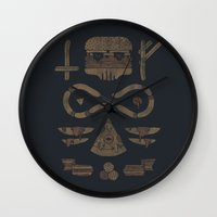 occult Wall Clocks featuring Fast Food Occult by Hector Mansilla