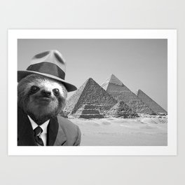 Sloth in Egypt in front of the pyramids Art Print