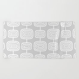 Mid Century Modern Atomic Rings Pattern 731 Gray Beach Towel
