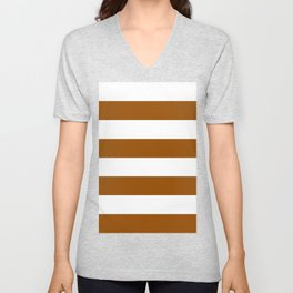 Wide Horizontal Stripes - White and Brown Unisex V-Neck