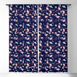 Flamingos In Space Blackout Curtain