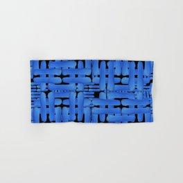 Double Blue Brush Strokes On Black Hand & Bath Towel
