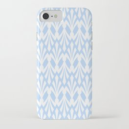 Decorative Plumes - White on Pastel Blue iPhone Case