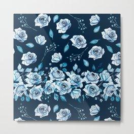 Indigo pattern with watercolor roses. Metal Print