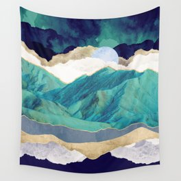 Teal Mountains Wall Tapestry