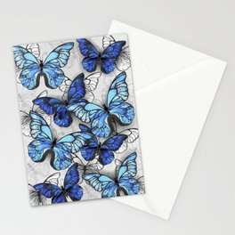 Composition of White and Blue Butterflies Stationery Cards