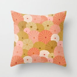Sea Urchins in Coral + Gold Throw Pillow