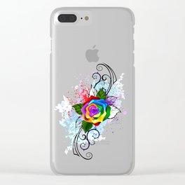 Patterned Rainbow Rose Clear iPhone Case