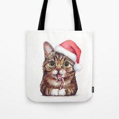 Cat in Santa Hat Whimsical Christmas Animals Tote Bag
