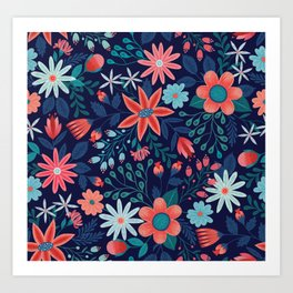 Navy & Coral Floral Pattern Art Print
