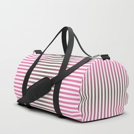 Stripes In Black & Pink Duffle Bag