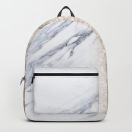 Bronze Copper Gold Glitter White Gray Marble Luxury III Backpack