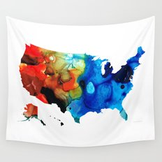 United States of America Map 4 - Colorful USA Wall Tapestry