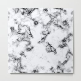 White and Black Veined Faux Marble Repeat Metal Print