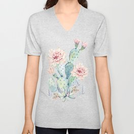 Prettiest Cactus Rose Watercolor by Nature Magick Unisex V-Neck