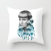 grimes Throw Pillows featuring Grimes by Nestor