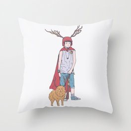 The Boy And His Dog In Apocalyptic Suburb - It's Only Life Throw Pillow