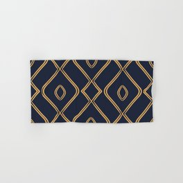 Modern Boho Ogee in Navy & Gold Hand & Bath Towel