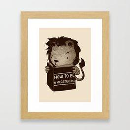 Lion Book How To Be Vegetarian Framed Art Print
