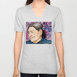 Woman and Butterfly Unisex V-Neck