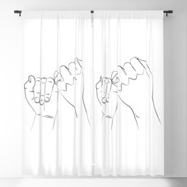 promis juré , Pinky Swear , One Line Drawing Print, Black White Hands Artwork, Blackout Curtain