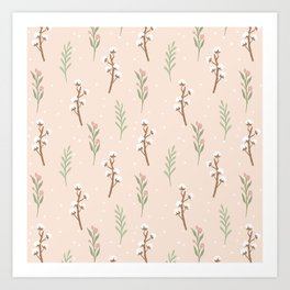 Cotton Stalks Art Print