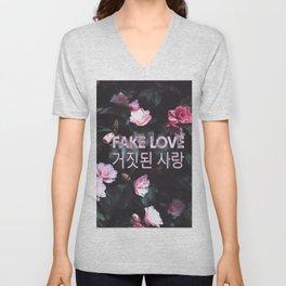 Fake Love Pink Floral Unisex V-Neck
