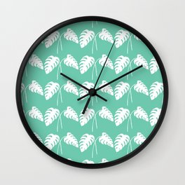 White Monstera Leaf Watercolor on Teal Wall Clock