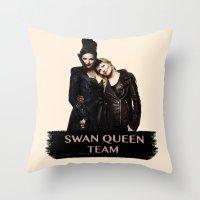 swan queen Throw Pillows featuring Swan Queen Team by Geek World