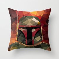 boba Throw Pillows featuring Boba Fett by Eric Dufresne