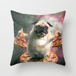 Funny Space Pug Dog With Pizza Throw Pillow