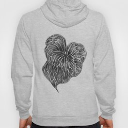 Midori Anthurium Pencil Drawing Black White Heart Hoody