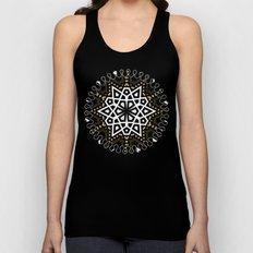 Black White + Gold Geometric Star Unisex Tank Top