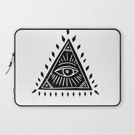 Linocut Pyramid eye black and white symbology Laptop Sleeve